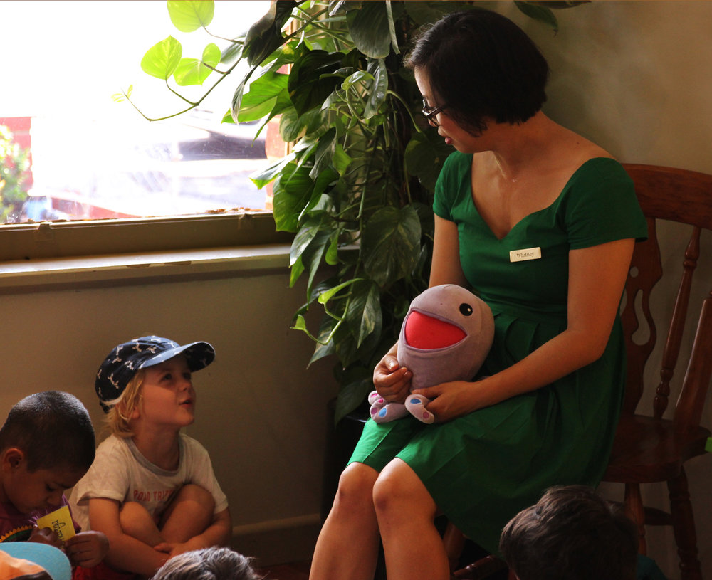 Max discussing consent with co-founder Whitney Yip and Huggtopus.  Photo: Klari Agar