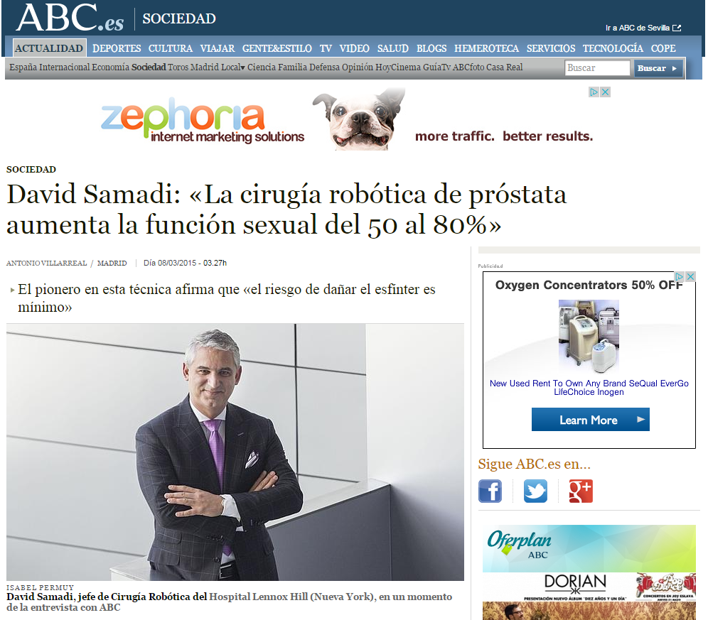 Dr. David Samadi Interviewed on Spanish Online Newspaper: ABC