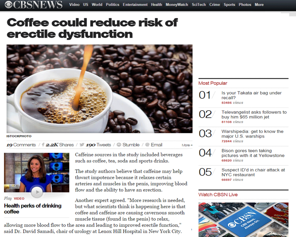 CBS News, Coffee and Erectile Dysfunction, Dr. David Samadi