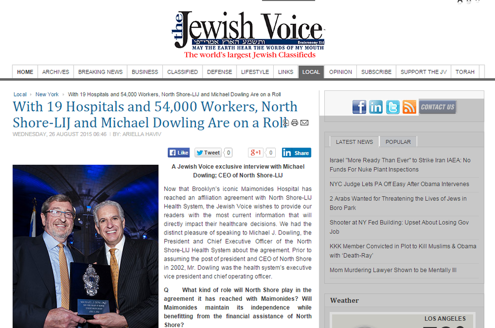 Jewish Voice: With 19 Hospitals and 54,000 Workers, North Shore-LIJ and Michael Dowling Are on a Roll