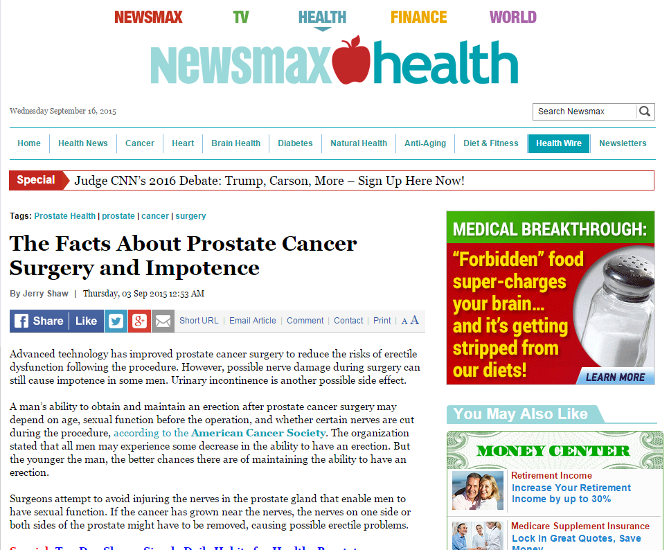 Newsmax Health: Facts About Prostate Cancer Surgery and Impotence