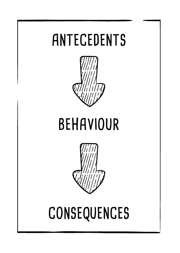 Antecedents  - the conditions or environment that sets up the behaviour.    Behaviour  - what the person did; observable actions.   Consequences  - events that occur after, the resultant effect of the behaviour.