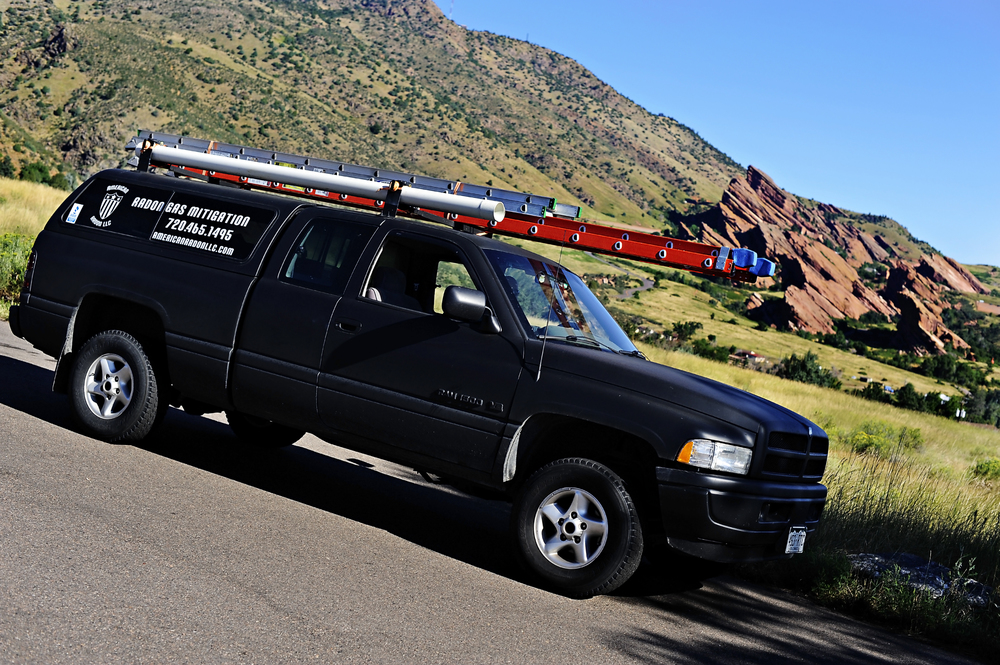 American Radon LLC truck servicing Aurora, CO
