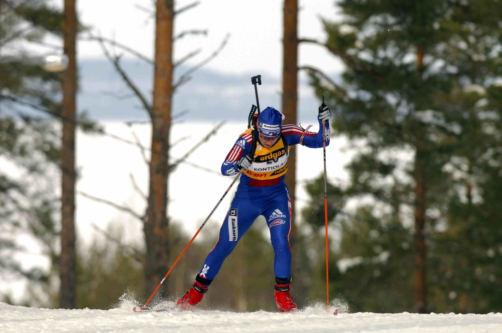 Biathlete Sarah Konrad skies in  Kontiolahti , Finland. (photo courtesy sarah konrad)