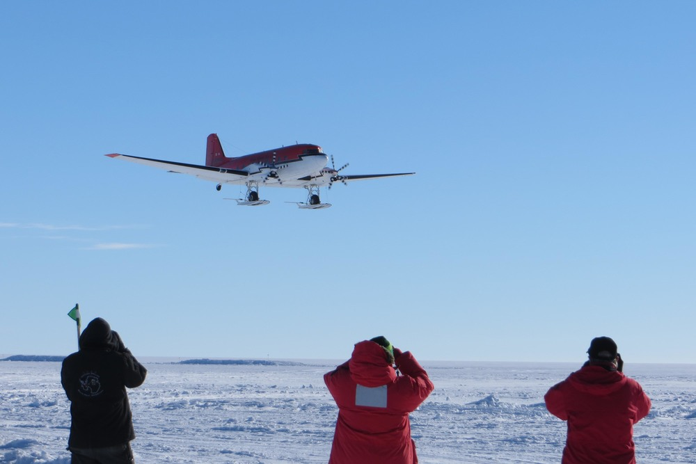 A Twin Otter prepares to drop off team members as Subglacial Lake Whillans. PHOTO BY TRISTA VICK-MAJORS