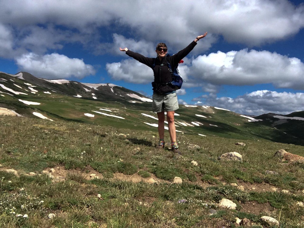 A joyful moment above treeline. PHOTO BY WILLOW BELDEN