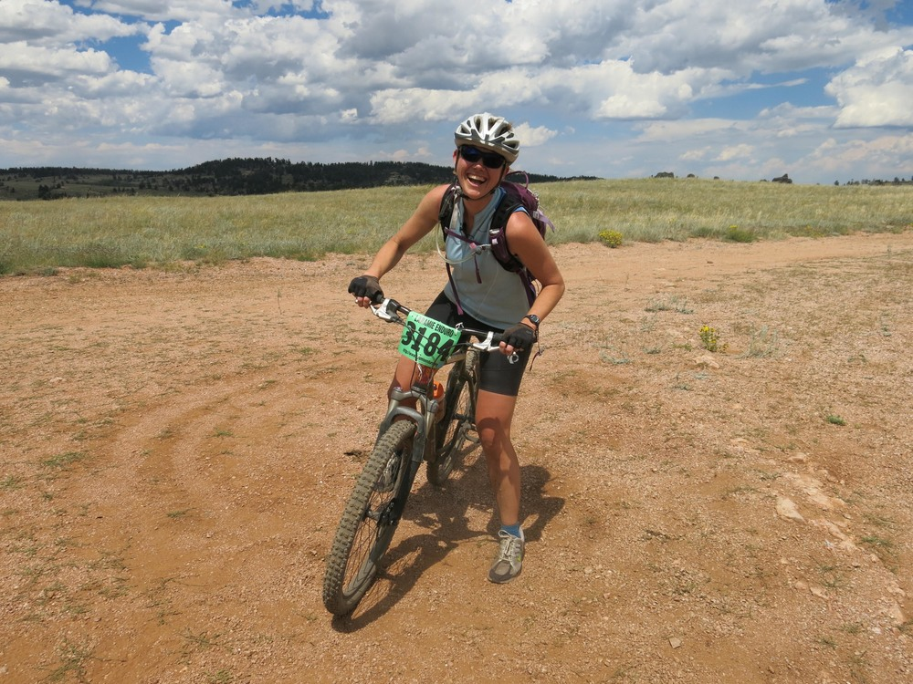 willow belden rolls into the fourth 'aid station' at the laramie enduro. (photo by leigh paterson)