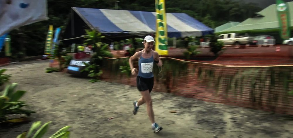 Bernadette Murphy approaches the finish line at the Tahiti Mo'orea Half Marathon. (PHOTO COURTESY BERNADETTE MURPHY)