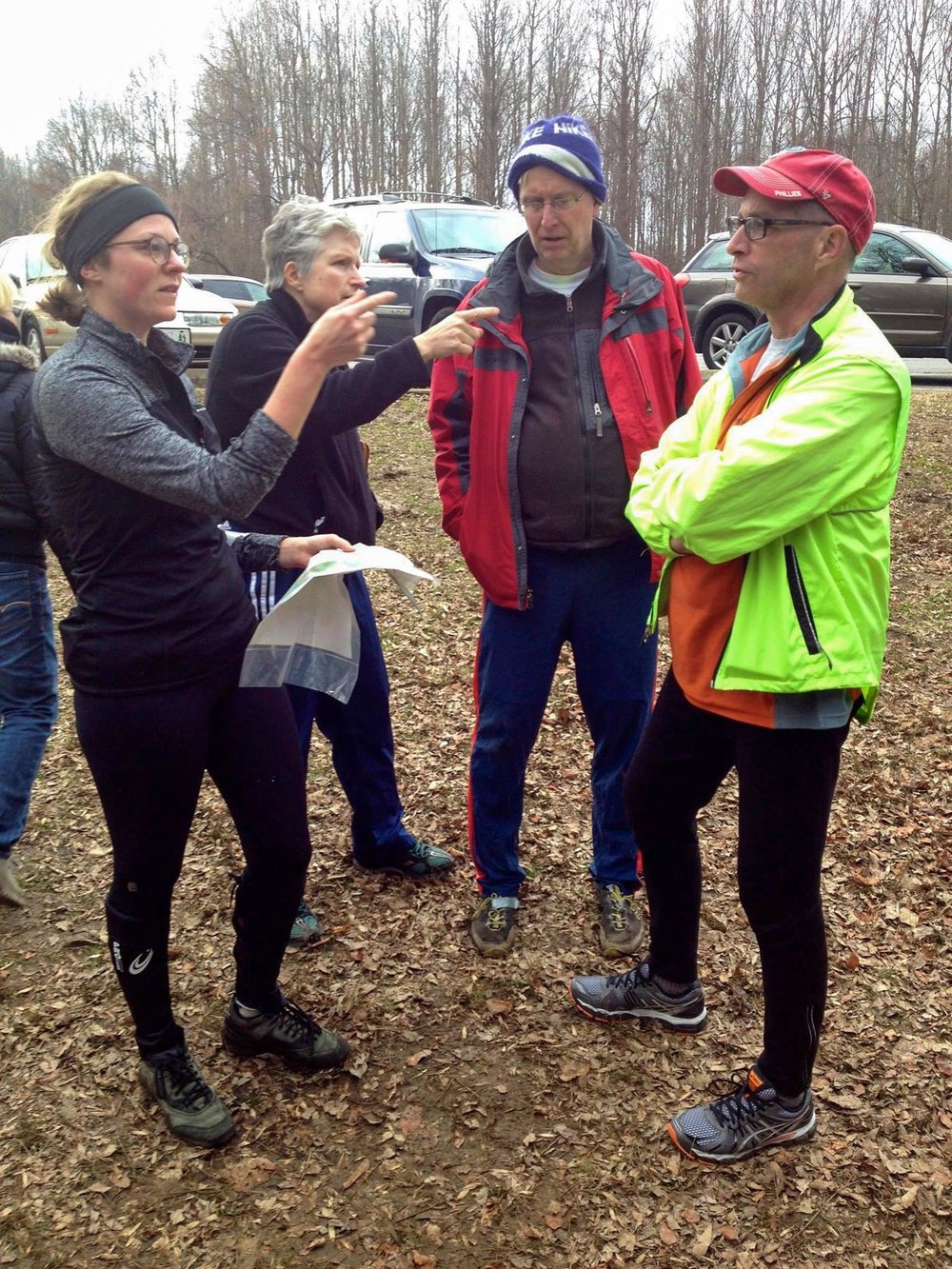 Halimah Marcus discusses an orienteering route (Photo courtesy Halimah Marcus)