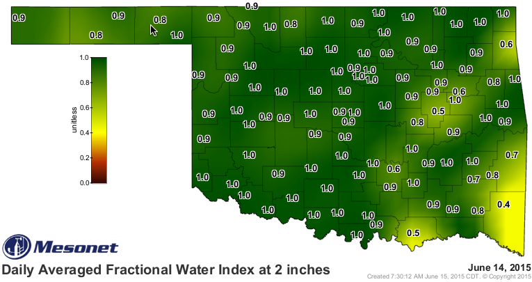 The Daily Averaged Fractional Water Index at 2 inches map displays the 24-hour-averaged soil moisture at 2 inches (5 cm) under native sod for the previous day. Fractional water index ranges from 0 (completely dry) to 1.0 (completely saturated).