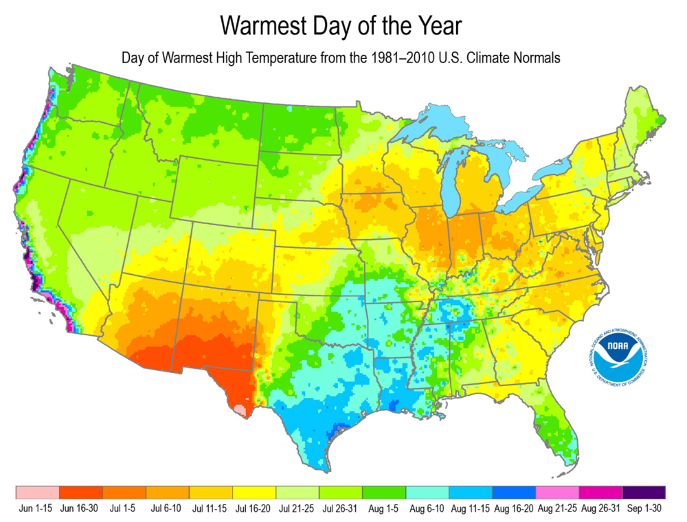 Based on 30-year averages, where the hottest week of the year occurs from California to Maine. (Source: NOAA)