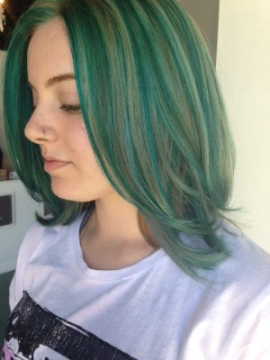 Mermaid teal hair parlour salon redondo beach ca she blended silver blue and green highlights to give this dimensional gorgeous color and shine to her hair pmusecretfo Image collections