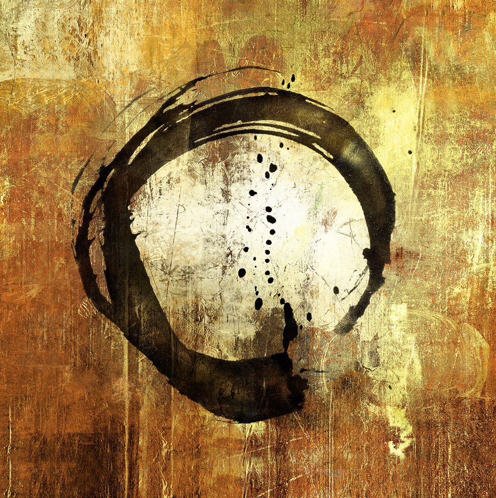 Enso symbol; a circle that is hand-drawn to express a moment when the mind is free to let the body create.