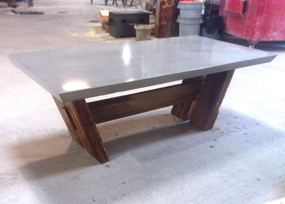 Concrete Top and Reclaimed Trestle Base