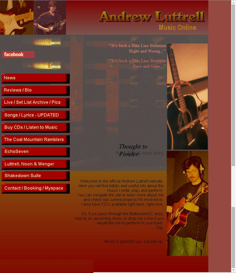 Homepage for my first music website I built in 2005.