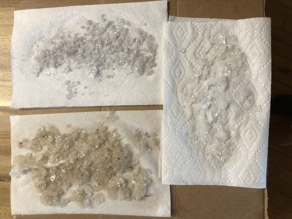 residue from the borax - I am drying this out, so that i can use it to decorate and fill the wunderkammer with crystal remnants.