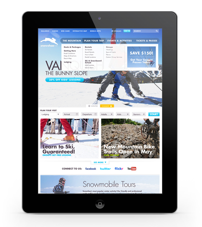Intrawest / Snowshoe Responsive site