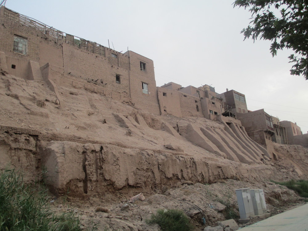 The old city walls , Kashgar. These are been ripped down and being replaced by a mock Turkish city walls.