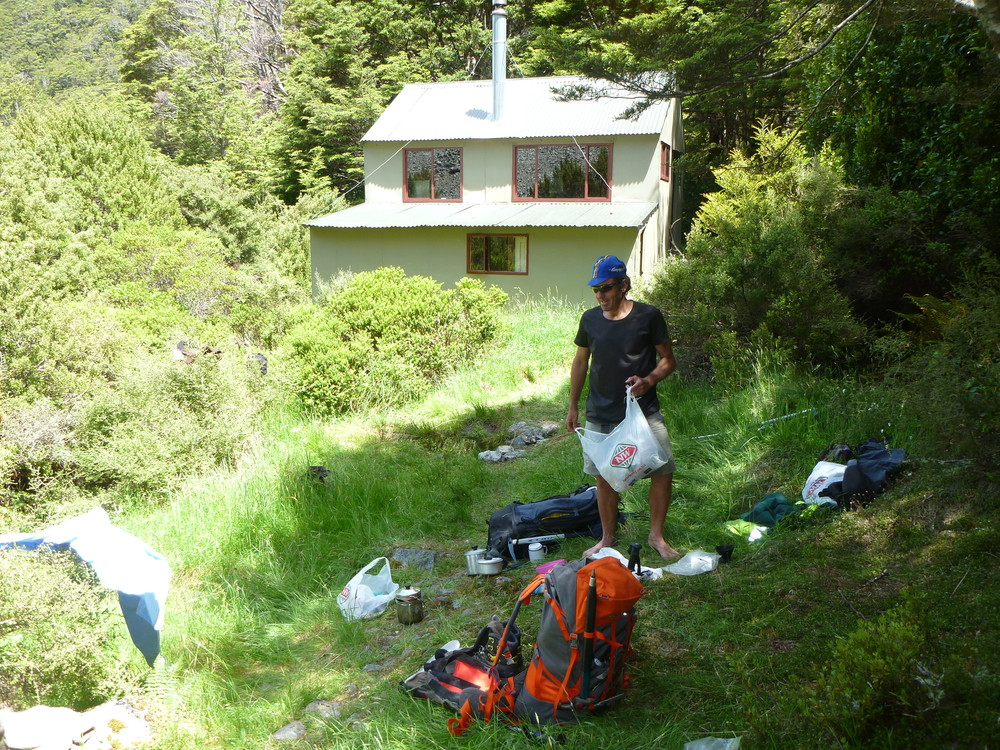 The mental   fuddle   begins here, sorting out pack at Hopeless creek hut