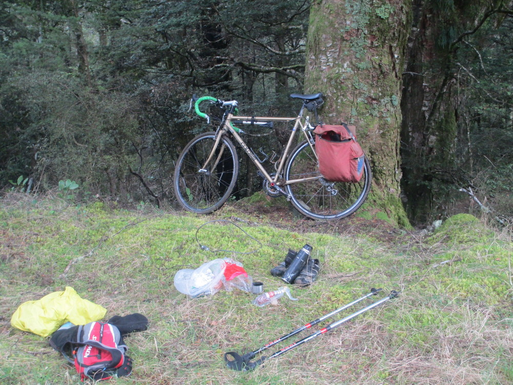 Leaving the bike behind for a tough run/hike up Cowin spur