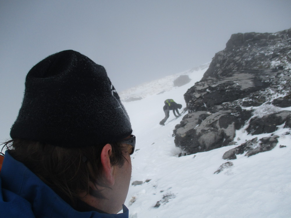 watching Sergio, tricky going with fresh snow balling up the crampons.