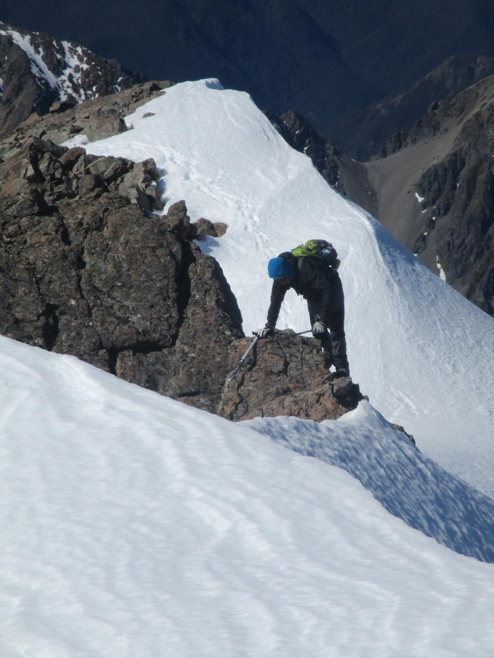 A tricky bit - Sergio on ridgeline of Mount Chittenden