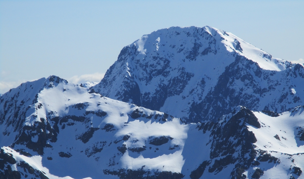 Mt Travers 2338m looms over the crest of Cotterell peak as seen from Chittenden