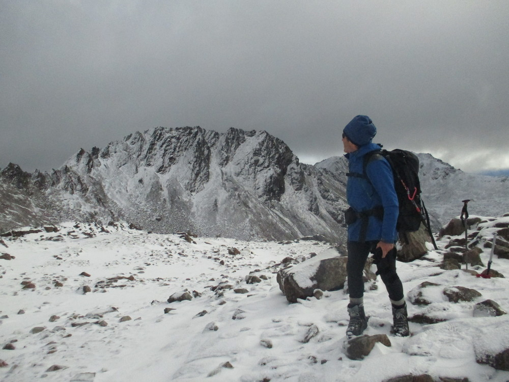 Looking over to the steep gullies of 1925m in winter