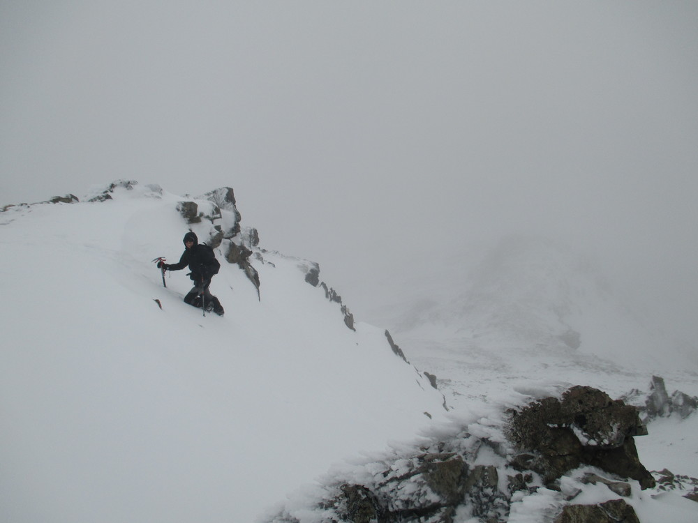 Climbing the West face of Mount Angelus with Sergio just before the storm ,winter 2015
