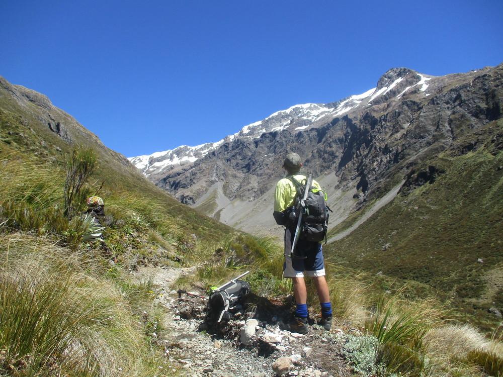 Carl looking towards Mt Philistine Arthurs pass National Park