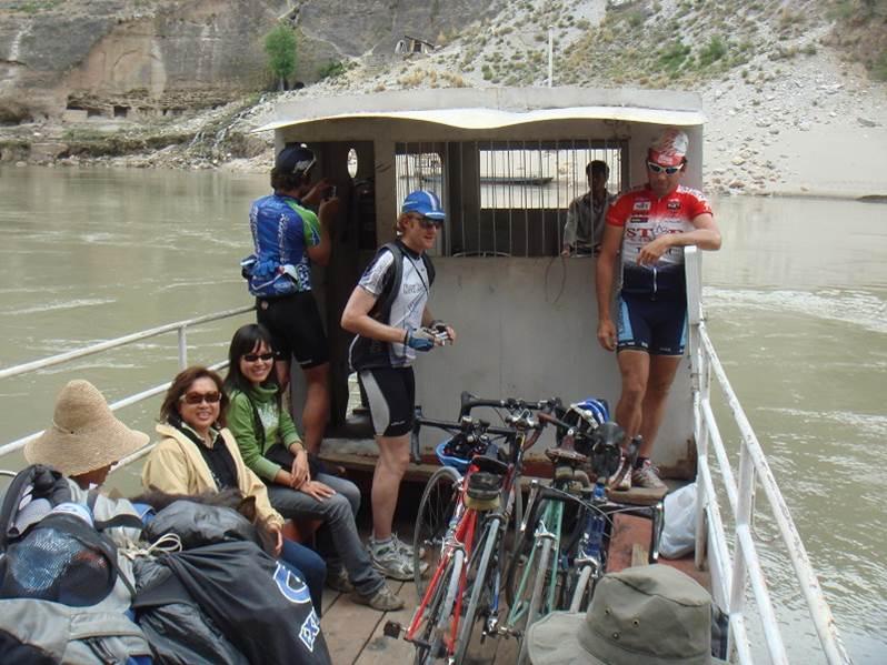 Joe , Loh , Nathan , Linna, Ma Loh and Matt crossing the Yangtze ,Yunnan China
