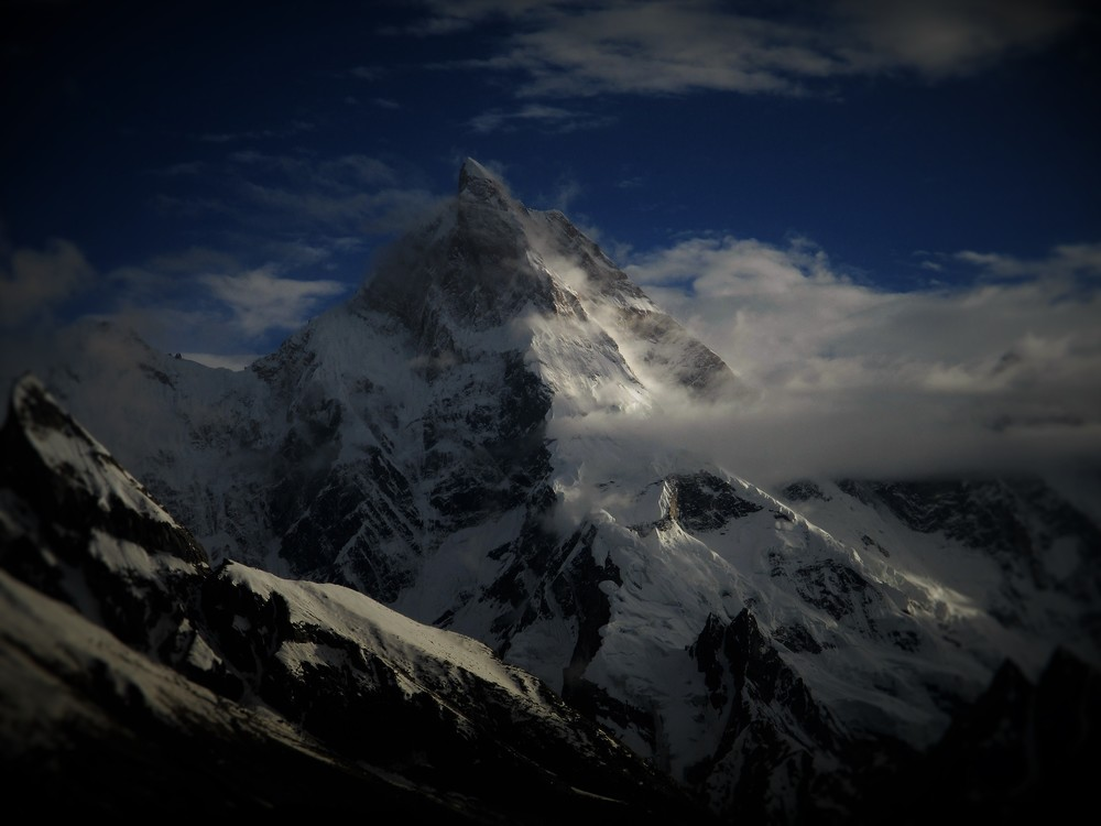 Sublime Masherbrum 7821m , like a bejeweled fairy tale ice castle this peak soared heavenwards, no amount of photography could capture its true beauty.
