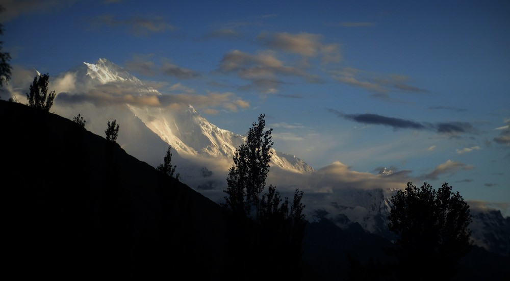 Ethereal Rakaposhi, or Dumani, 7788m , if there was one mountain to compete with Masherbrum in terms of beauty it is Rakposhi - here the west face , the largest mountain face on Earth rising almost 6000m above the valley below.
