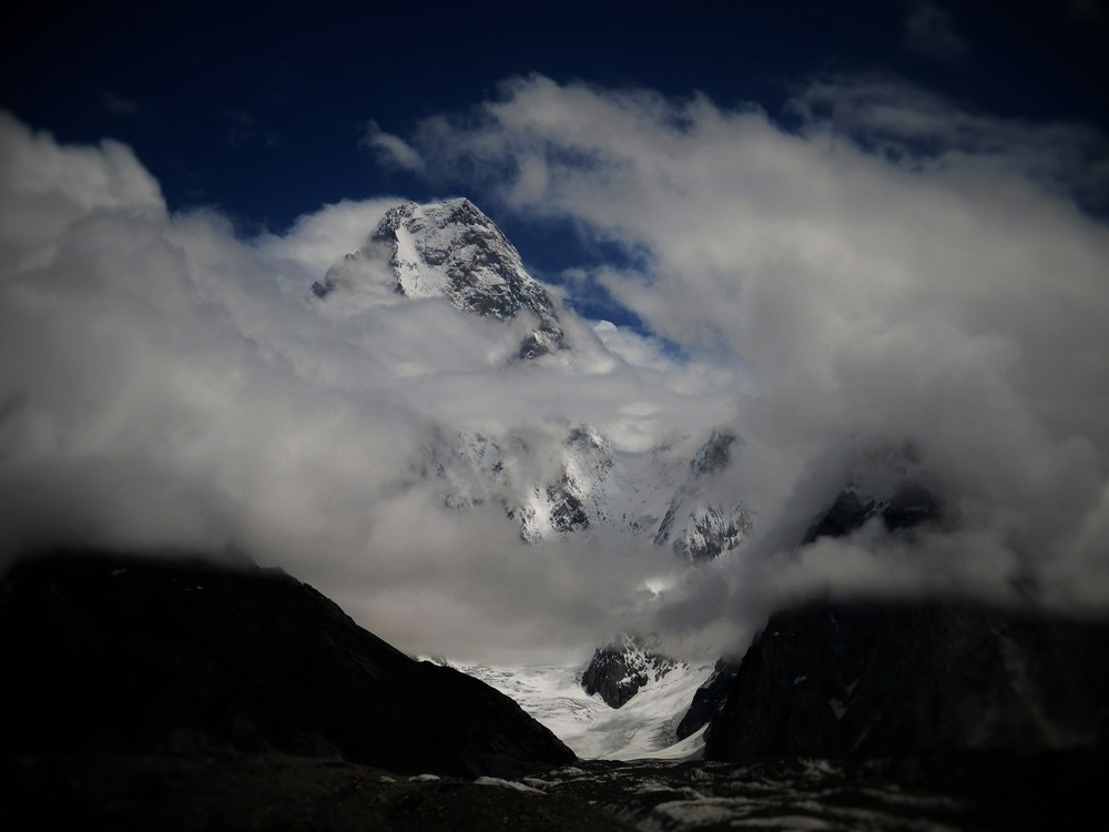 Gasherbrum 4 7925 m from the Baltoro Glacier.