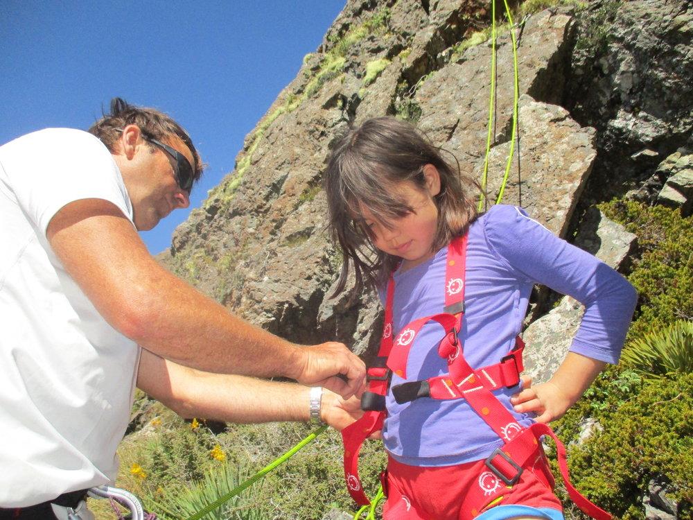 Isabelle straps up.