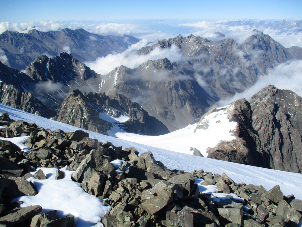The view down Gorilla vally where we had bivoucaed ,Mount Little of the day before is the small rock peak center picture.