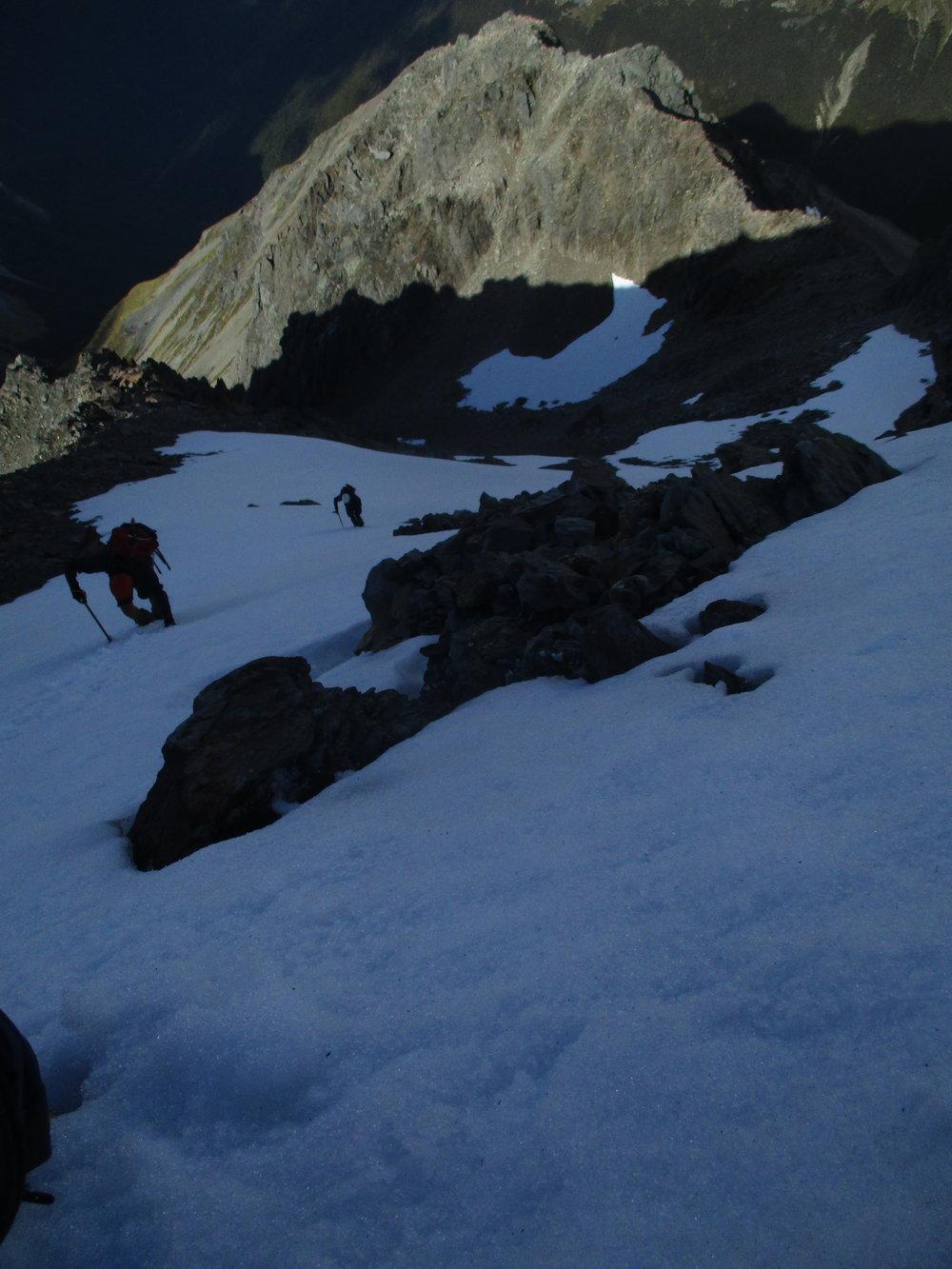Bill and Jono on Mount Travers