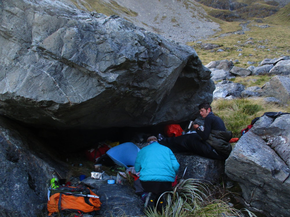 Jono and Bill resting up at the rock Bivouac below Mount Travers