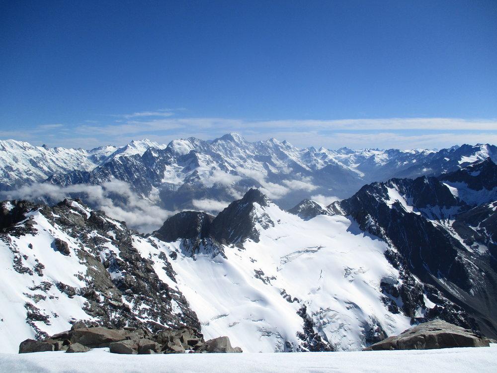 Malte-Brun 3198m dominates the range which it names, in the foreground Mount Biretta 2665m