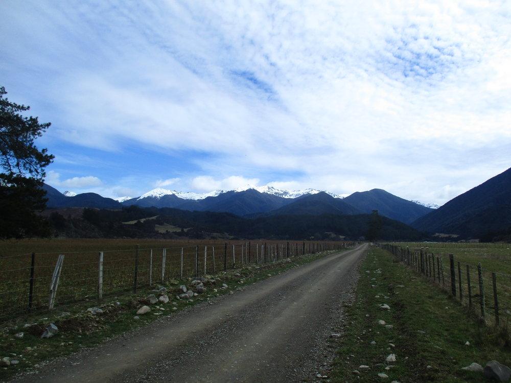Biking up the Batton Valley Kahurangi National park.