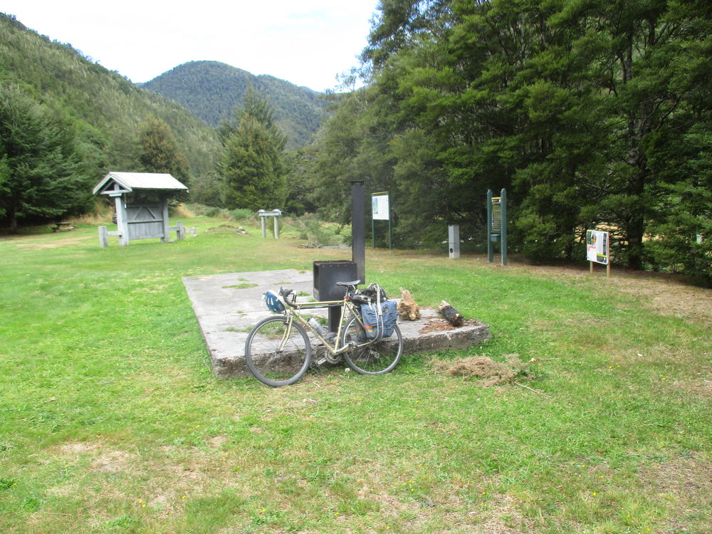 Courthouse flat , the site of a now vanished mining settlment and as far as the bike goes.