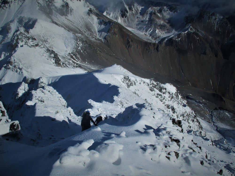 Looking down the ridgeline