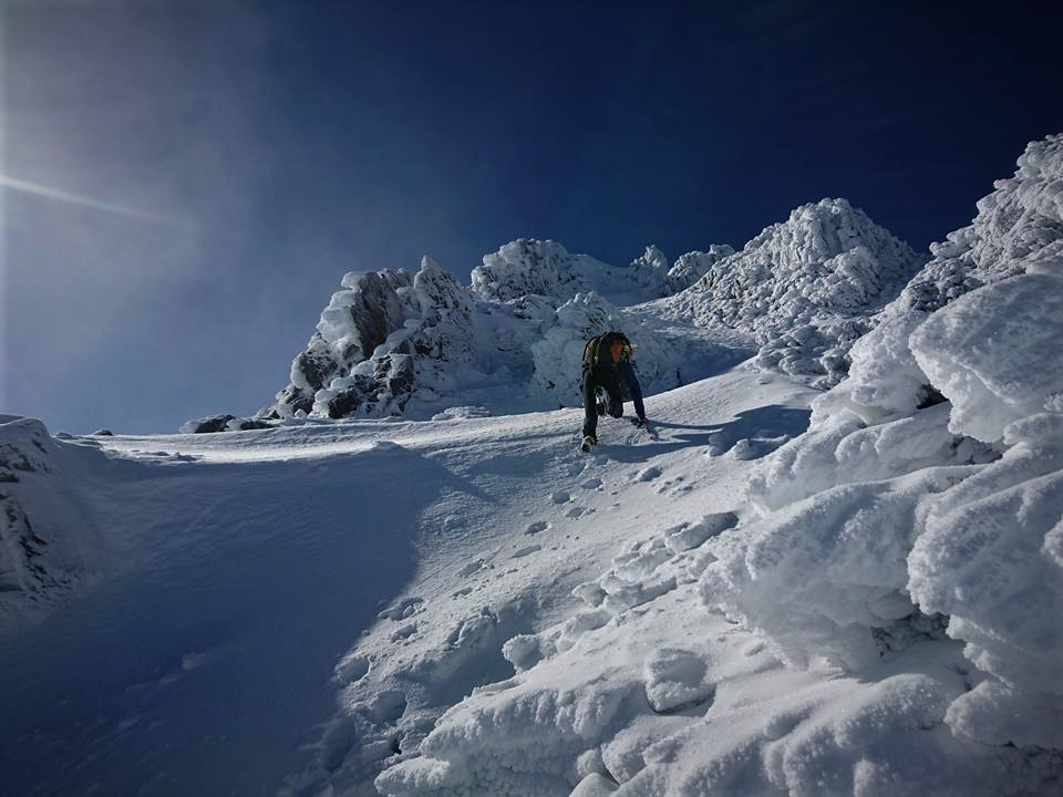 Climbing up between towers of mushroom ice