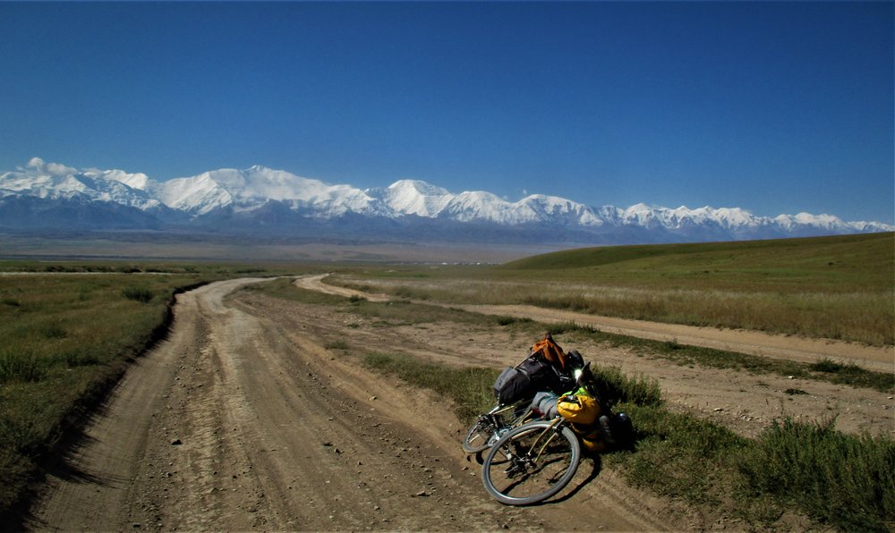 The last views of the Pamirs were as I headed up Jiptick pass , an old Soviet jeep track , now trekking track .