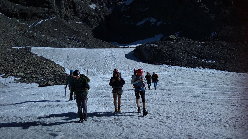 Walking back out the flat glacier