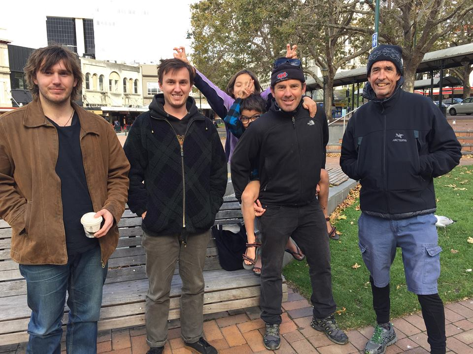 Hanging out with family - Aleksander, Marco, Isabelle, Leo and myself in the Octagon , Dunedin. Leigh on the far right , is one of my oldest friends and a most entertaining companion from cycle racing days. He greeted us just 10 days after a kidney transplant and is recovering well.