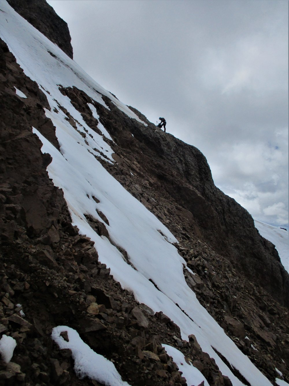 After already climbing very loose steep rock the serious work began once we hit the Glacial cap!!!