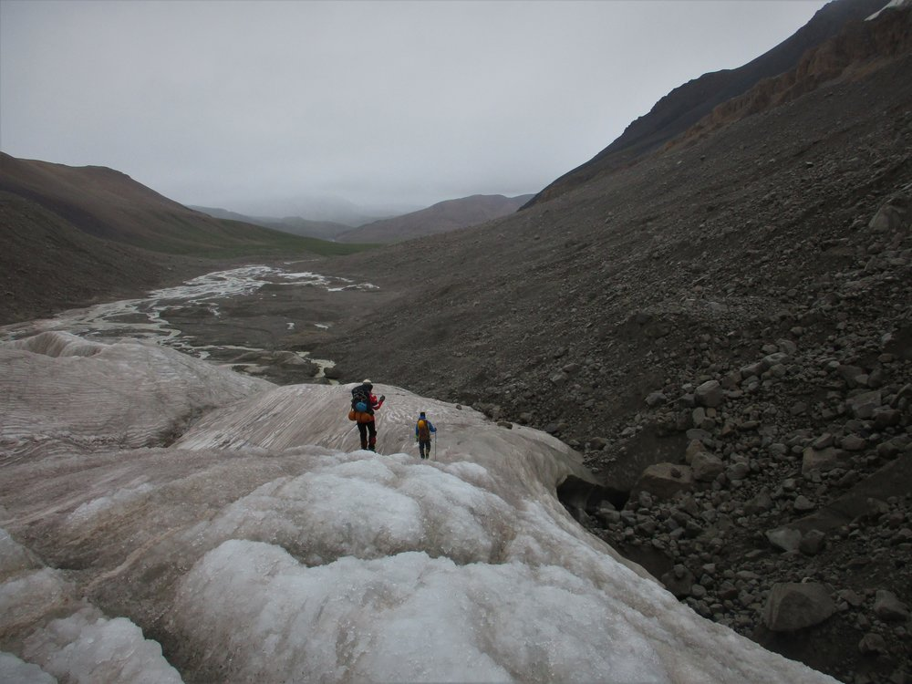 leaving the Glacial terminus - it had snowed on the way in and also on the way out.