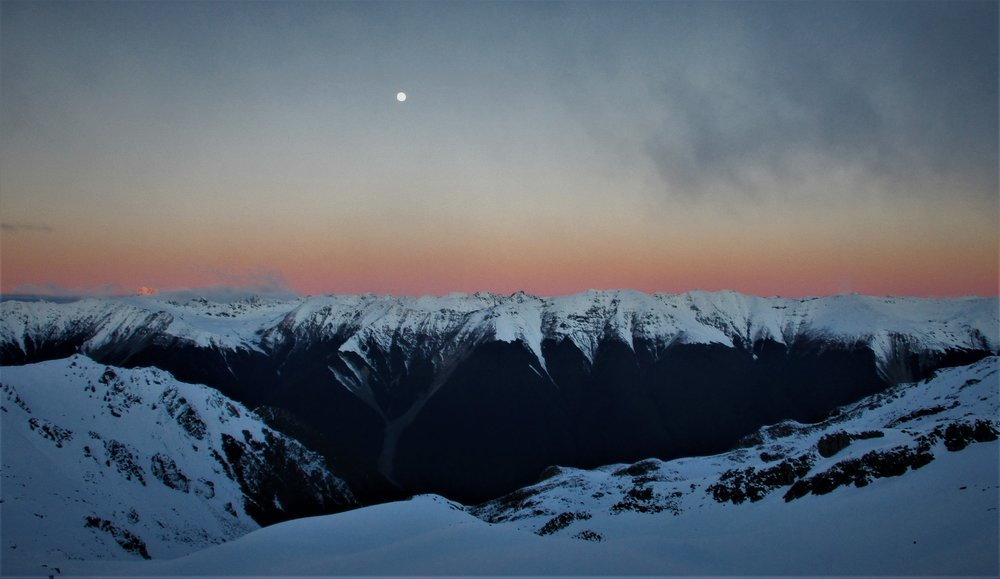 Full moon rising above the Alps