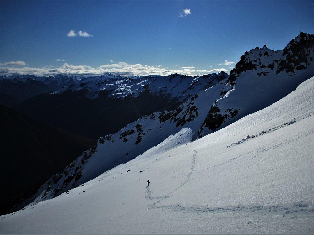descending thru large snow field's